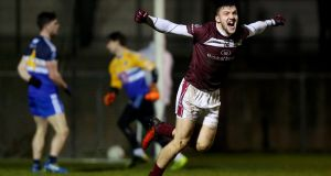 Damien Comer celebrates NUIG's second goal against DIT. Photograph: James Crombie/Inpho