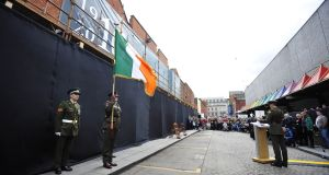 Members of the Defence Forces at a 1916 wreath-laying ceremony in Moore Street, Dublin