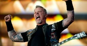 "Lead vocalist and guitarist James Hetfield of US heavy metal band Metallica: ""Not since Wagner's emotional turmoil and Tchaikovsky's cannons has anyone created music that is so physical and furious, and yet still so accessible,"" the Polar Prize judges said. Photograph: Sven Hoppe/EPA"