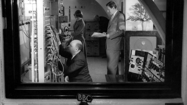 Donald McWhinnie, Desmond Briscoe and Daphne Oram at work creating electronic sounds at The Maida Vale Studio. Photograph: BBC