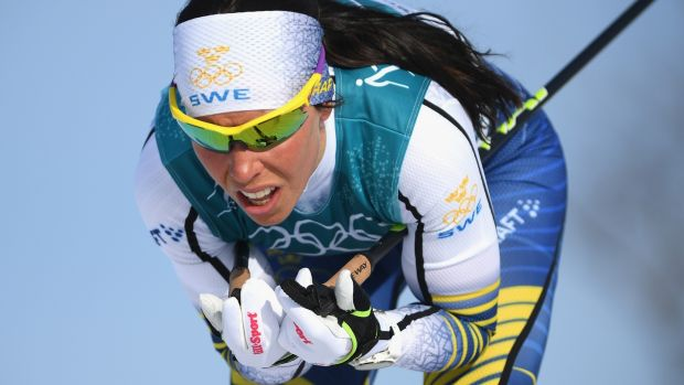 Swedish gold medal skiier Charlotte Kalla, whose performance helped Discovery set a viewing record in Sweden. Photograph: Getty Images
