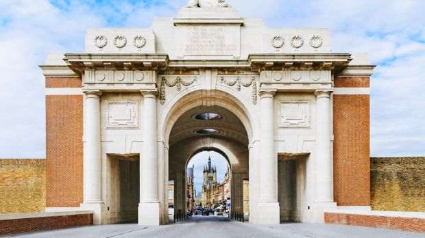 Menin Gate British memorial at Ypres in Belgium. Completed in 1927, it is dedicated to the British and Commonwealth soldiers who died in the battles around Ypres in the first World War, and whose graves are unknown.