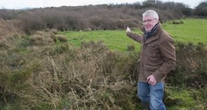 Historian William Casey shows the site of a 1920 unofficial graveyard (cillín) a few miles from the village of Ballydehob in west Cork. Photograph: Michael Mac Sweeney/Provision