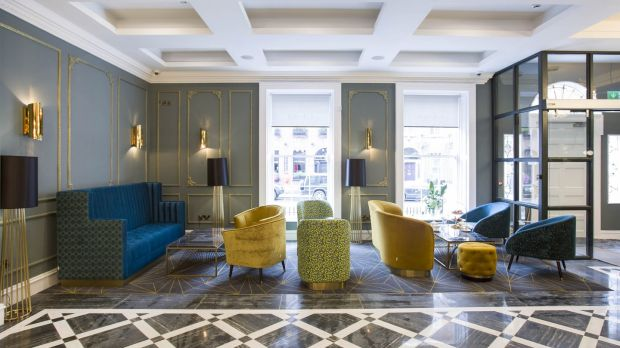 The lobby of the new Iveagh Garden hotel