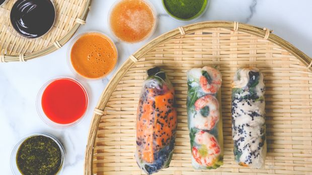 Vietnamese rice paper rolls and dipping sauces from Pang on Kevin Street Lower, Dublin 2