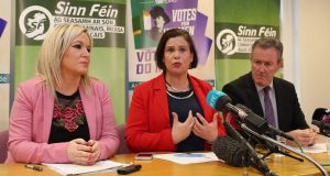 Sinn Féin vice-president Michelle O'Neill and the party's  president, Mary Lou McDonald,  at a press conference in Parliament Buildings in Stormont, Belfast, on Thursday. Photograph: Niall Carson/PA Wire