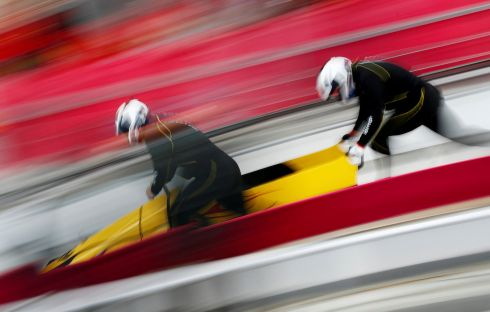 WINTER OLYMPICS: Nico Walther and Christian Poser of Germany during bobsleigh training at the Olympic Sliding Centre. Photograph: Edgar Su/Reuters