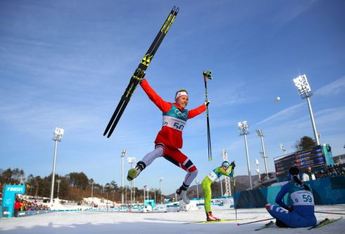 WINTER OLYMPICS: Ragnhild Haga of Norway reacts after the women's cross-country skiing 10km freestyle event, at the Alpensia Cross-Country Skiing Centre. Photograph: Carlos Barria/Reuters