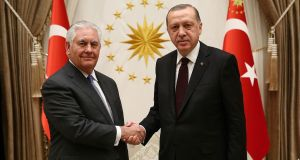 US secretary of state Rex Tillerson meets Turkisb president Recep Tayyip Erdogan in Ankara on Thursday. Photograph: Turkish presidential press service/AFP/Getty Images