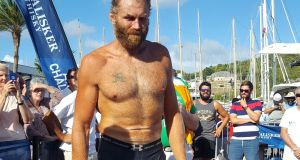 Damian Browne in Antigua after completing his solo row.