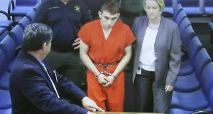 Suspect Nikolas Cruz appears at Broward County Court House on Thursday. Photograph: Susan Stocker/Sun Sentinel/AFP/Getty Images