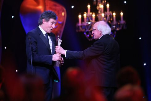 President Michael D Higgins presents Gabriel Byrne with  the Ifta lifetime achievement award at the Mansion House Dublin. Photograph: Kyran O'Brien