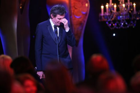 An emotional Gabriel Byrne on stage after receiving the Ifta lifetime achievement award. Photograph: Kyran O'Brien