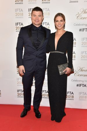 Brian O'Driscoll and Amy Huberman at the Ifta awards. Photograph: Michael Chester.