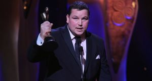 John Connors, who received the Ifta for the best lead actor in a film for 'Cardboard Gangsters' at the Irish Film and Television Awards 2018 at the Mansion House in Dublin. Photograph: Kyran O'Brien