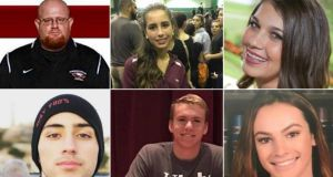 Clockwise from top left: Aaron Feis, Gina Montalto, Jaime Guttenberg, Meadow Pollack, Nicholas Dworet, Joaquin Oliver.