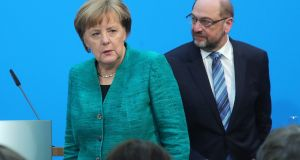 Angela Merkel and Martin Schulz: German politics has a rapidly changing profile.  Photograph: Krisztian Bocsi/Bloomberg