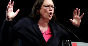 Andrea Nahles, parliamentary group leader of the Social Democratic Party (SPD): is hoping to be the party's first woman leader, but has stood aside as acting chairperson until the formal vote. Photograph: Friedemann Vogel
