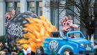 A parade float in Dusseldorf depicting  the exhaust scandal at  Volkswagen.  Photograph: Getty Images