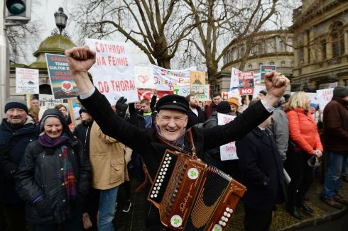 The King of Tory Patsy Don Rodgers outside the Dail with fellow island residents calling for an a new and bigger ferry to service the Donegal island. Photograph: Alan Betson/The Irish Times