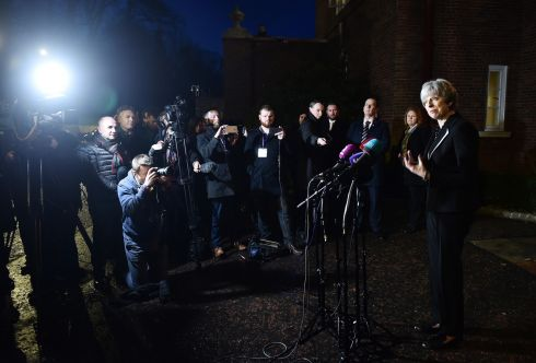 British PM Theresa May holds a press conference at Stormont House after talks to restore the Northern Ireland powersharing executive. Photograph: Charles McQuillan/Getty Images