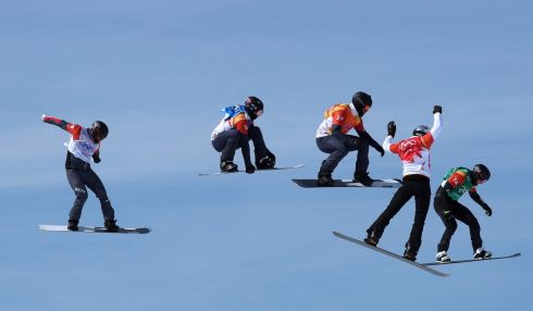 Snowboarding: Paul Berg of Germany competes with Lukas Pachner of Austria, Mick Dierdorff of the US, Jonathan Cheever of the US and Regino Hernandez of Spain. Photograph: Mike Blake/Reuters