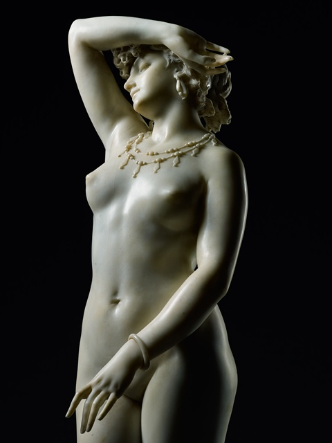 Phryné, a white marble dated 1868 by the Italian sculptor Francesco Barzaghi