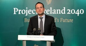 Taoiseach Leo Varadkar  after the launch of Project Ireland 2040. Photograph: Michelle Devane/PA Wire