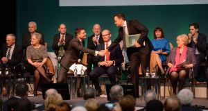 Taoiseach Leo Varadkar with the Cabinet on stage at Sligo Institute of Technology. Photograph:  Alan Betson