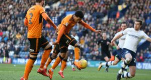 Wolves' Helder Costa scores his side's first goal of the game during their Championship win over Preston North End at Deepdale, Preston. Photo: Barrington Coombs/PA Wire