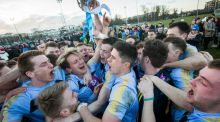 UCD players celebrate after winning the Sigerson Cup after a one-point victory over NUIG in Santry. Photograph:  Ryan Byrne/Inpho