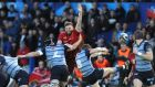 Munster's Darren O'Shea attempts to block Cardiff's Lloyd Williams' kick during the Guinness Pro 14 game at  Cardiff Arms Park. Photograph:  Kevin Barnes/Inpho