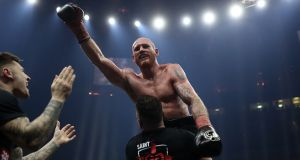George Groves  celebrates his defeat of  Chris Eubank Jr. Photograph: Mark Robinson/Getty Images