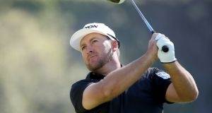 Graeme McDowell drives from the 14th tee during the third round of the Genesis Open at Riviera Country Club in Pacific Palisades, California. Photograph: Christian Petersen/Getty Images