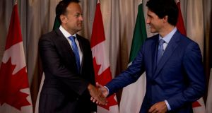 "Leo Varadkar and Justin Trudeau. ""If there are lessons from other countries I would take a glance at Canada. Another country where inequality is relatively low and where immigrants are welcomed with open arms."""