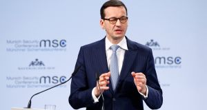 Polish prime minister Mateusz Morawiecki: controversial comments on 'Jewish perpetrators'. Photograph:  REUTERS/Michaela Rehle