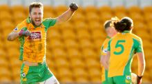 Corofin's Michael Lundy celebrates the Connacht champions' All-Ireland club semi-final victory over Moorefield at O'Connor Park, Tullamore. Photograph: James Crombie/Inpho