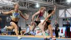 Amy Foster, second from left, of City of Lisburn AC on her way to winning the Senior Women 60m in Abbotstown. Photograph: Eóin Noonan/Sportsfile