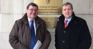 Minister of State for Trade Pat Breen and Irish Ambassador to Russia Adrian McDaid pictured in Moscow earlier this month. Photograph: Twitter
