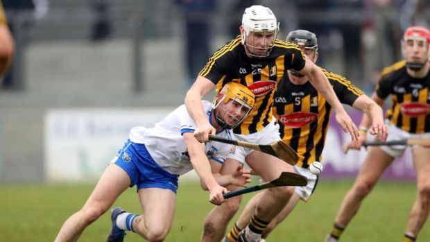 Waterford's Tommy Ryan in action against and Liam Blanchfield of Kilkenny during the Allianz Hurling League Division 1A game at Walsh Park. Photograph: Bryan Keane/Inpho