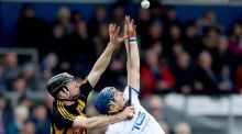 Conor Delaney of Kilkenny and Waterford's Patrick Curran battle for possession during the Allianz Hurling League Division 1A game at Walsh Park. Photograph: Bryan Keane/Inpho