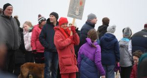 'Save This Beach' protesting at Rossbeigh beach on Sunday. Photograph: Domnick Walsh
