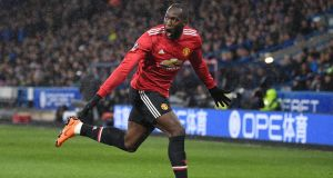 Manchester United's Romelu Lukaku  celebrates scoring his side's first goal during the  FA Cup fifth round against Huddersfield Town. Photograph: Gareth Copley/Getty Images
