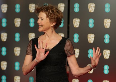 Annette Bening poses on the red carpet upon arrival at the Bafta awards. Photograph: Daniel Leal-Olivas/AFP/Getty Images