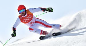 Austria's Marcel Hirscher  in the men's giant slalom at the Winter Olympic Games in Pyeongchang. Photograph:   Dimitar Dilkoff/AFP/Getty Images