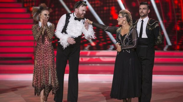Broadcaster and comedian Bernard O'Shea and Valeria Milova are voted off after a dance off with Erin McGregor and Ryan McShane. Photograph: Kyran O'Brien/RTÉ