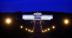 Stormont is seen at night, in Belfast. Photograph: Clodagh Kilcoyne/Reuters