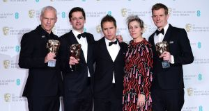 Director Martin McDonough, Pete Czernin, Sam Rockwell, Frances McDormand and Graham Broadbent with the Bafta for best film. Photogaph:  Ian West/PA