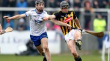 Waterford's Barry Coughlan challenges Walter Walsh of Kilkenny during their Division 1A clash on Sunday. Photo: Bryan Keane/Inpho