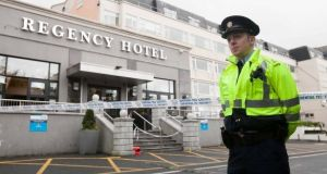 A file image of a garda outside the Regency Hotel in Dublin following the fatal shooting of David Byrne (34) in 2016. Photoraph: Collins